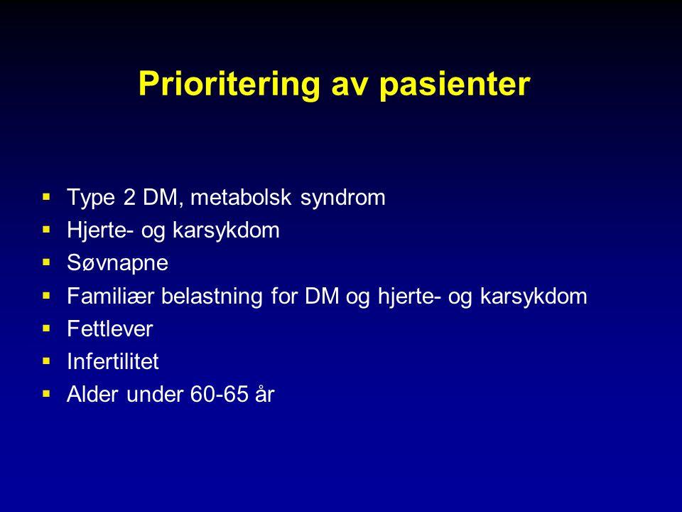 Prioritering av pasienter  Type 2 DM, metabolsk syndrom  Hjerte- og karsykdom  Søvnapne  Familiær belastning for DM og hjerte- og karsykdom  Fettlever  Infertilitet  Alder under 60-65 år
