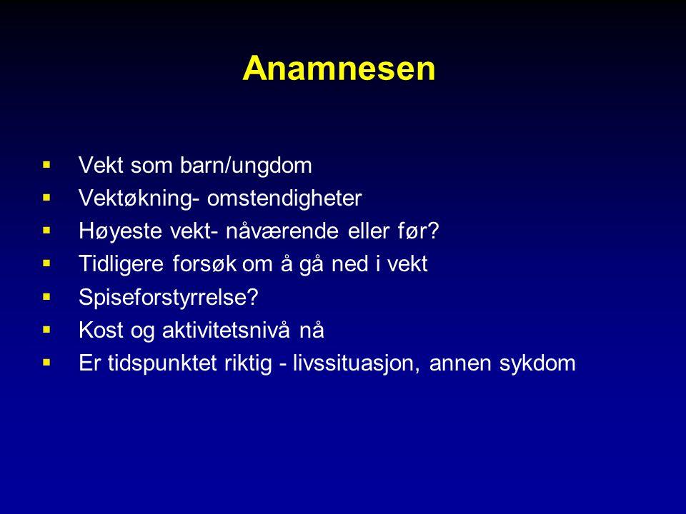 Anamnesen  Vekt som barn/ungdom  Vektøkning- omstendigheter  Høyeste vekt- nåværende eller før.