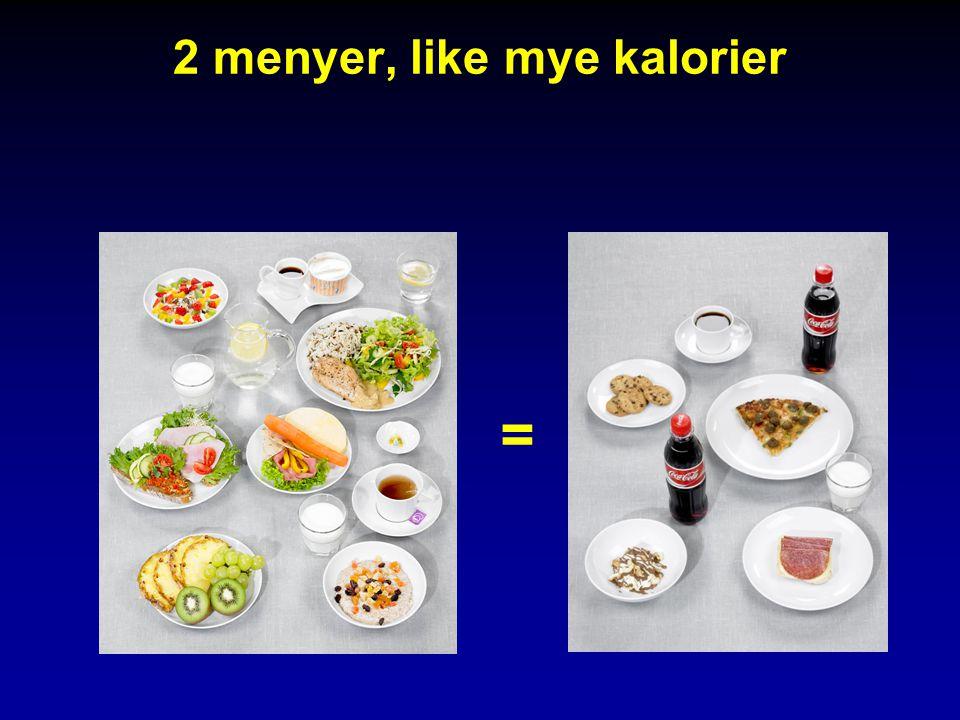 2 menyer, like mye kalorier =