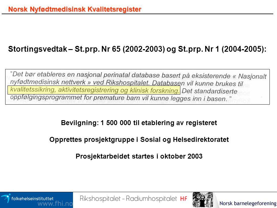 Norsk Nyfødtmedisinsk Kvalitetsregister Stortingsvedtak – St.prp. Nr 65 (2002-2003) og St.prp. Nr 1 (2004-2005): Bevilgning: 1 500 000 til etablering