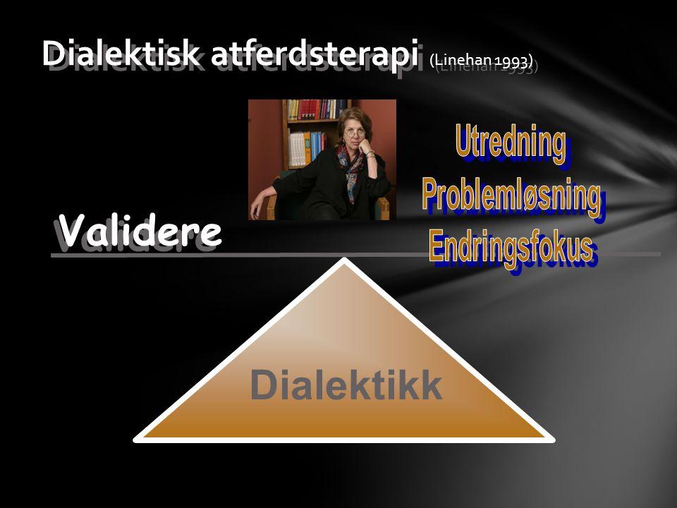 Dialektisk atferdsterapi (Linehan 1993) Dialektikk Validere