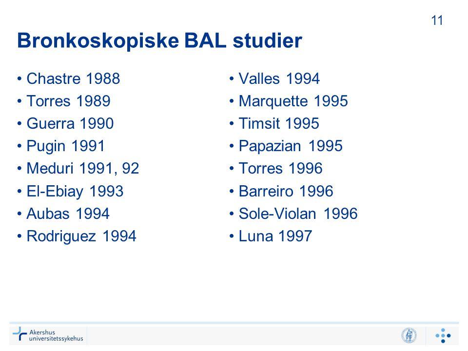 Bronkoskopiske BAL studier Chastre 1988 Torres 1989 Guerra 1990 Pugin 1991 Meduri 1991, 92 El-Ebiay 1993 Aubas 1994 Rodriguez 1994 Valles 1994 Marquet