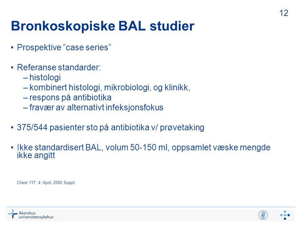 """Bronkoskopiske BAL studier Prospektive """"case series"""" Referanse standarder: –histologi –kombinert histologi, mikrobiologi, og klinikk, –respons på anti"""