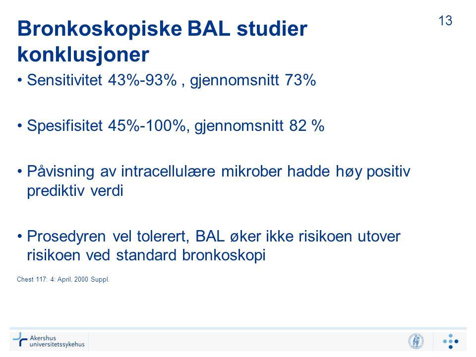 Bronkoskopiske BAL studier konklusjoner Sensitivitet 43%-93%, gjennomsnitt 73% Spesifisitet 45%-100%, gjennomsnitt 82 % Påvisning av intracellulære mi