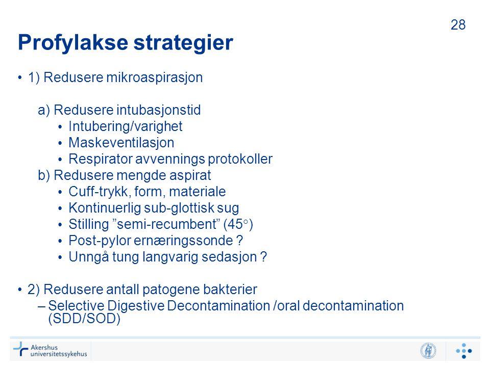 Profylakse strategier 1) Redusere mikroaspirasjon a) Redusere intubasjonstid Intubering/varighet Maskeventilasjon Respirator avvennings protokoller b)