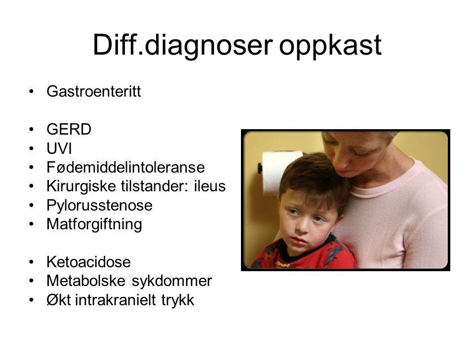 Diff.diagnoser oppkast Gastroenteritt GERD UVI Fødemiddelintoleranse Kirurgiske tilstander: ileus Pylorusstenose Matforgiftning Ketoacidose Metabolske