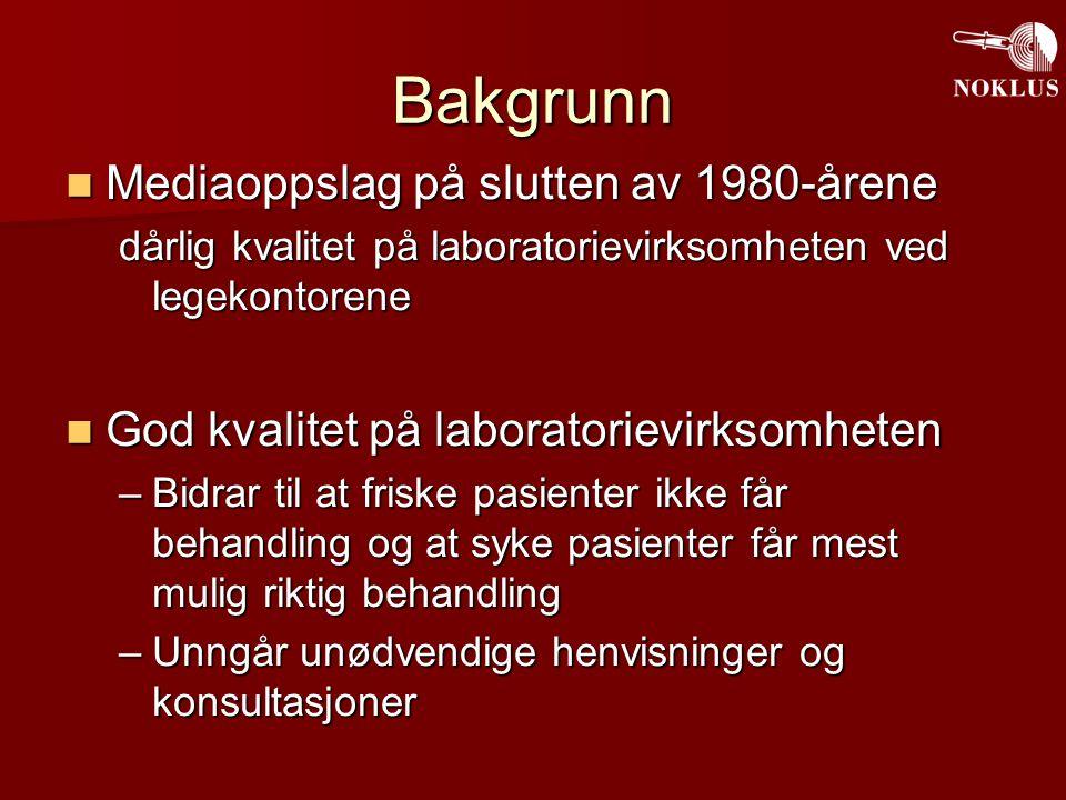 Norsk kvalitetsforbedring av laboratorievirksomhet utenfor sykehus (NOKLUS) Formål: Kvalitetssikre all laboratorievirksomhet utenfor sykehus 2879 deltakere 2879 deltakere –1755 legekontor (99%?) –829 sykehjem (92%) –21 forsvarsenheter (alle med lab) –48 enheter fra oljeindustrien –130 bedriftshelsetjenester, fengsler, legevakter –88 sykehus