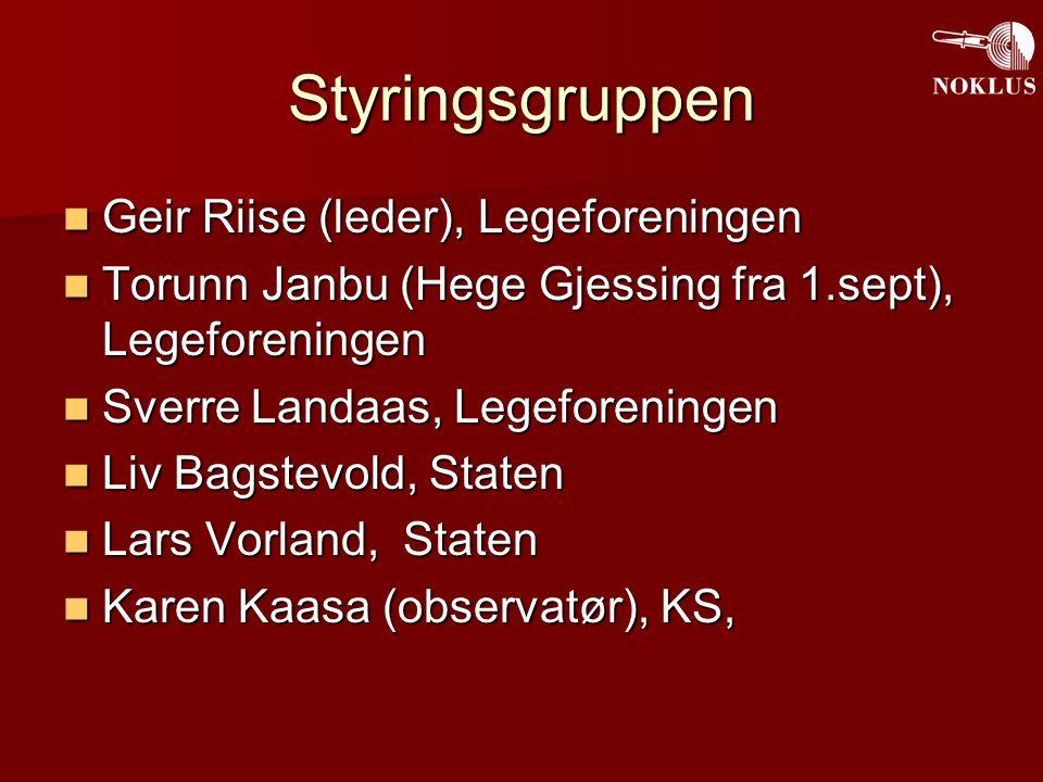 Styringsgruppen Geir Riise (leder), Legeforeningen Geir Riise (leder), Legeforeningen Torunn Janbu (Hege Gjessing fra 1.sept), Legeforeningen Torunn J