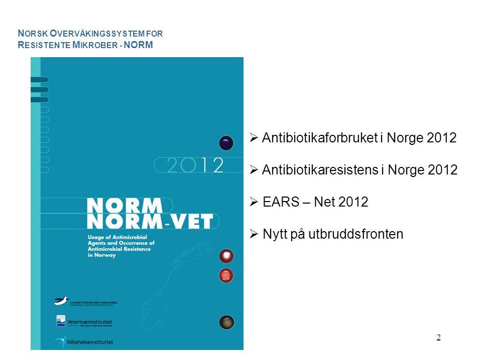 2  Antibiotikaforbruket i Norge 2012  Antibiotikaresistens i Norge 2012  EARS – Net 2012  Nytt på utbruddsfronten N ORSK O VERVÅKINGSSYSTEM FOR R ESISTENTE M IKROBER - NORM
