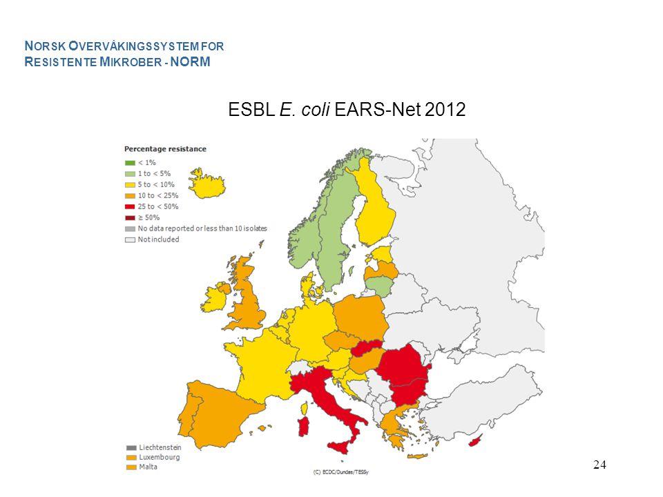 24 ESBL E. coli EARS-Net 2012 N ORSK O VERVÅKINGSSYSTEM FOR R ESISTENTE M IKROBER - NORM