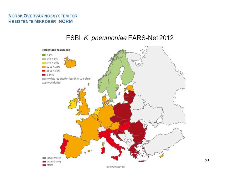 25 ESBL K. pneumoniae EARS-Net 2012 N ORSK O VERVÅKINGSSYSTEM FOR R ESISTENTE M IKROBER - NORM