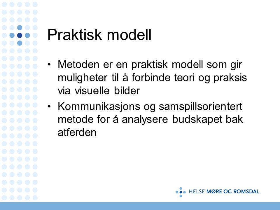 Praktisk modell Metoden er en praktisk modell som gir muligheter til å forbinde teori og praksis via visuelle bilder Kommunikasjons og samspillsorientert metode for å analysere budskapet bak atferden