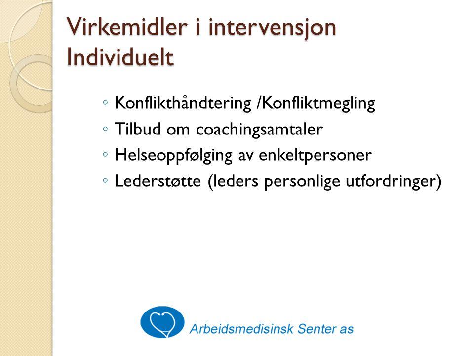 Virkemidler i intervensjon Individuelt ◦ Konflikthåndtering /Konfliktmegling ◦ Tilbud om coachingsamtaler ◦ Helseoppfølging av enkeltpersoner ◦ Lederstøtte (leders personlige utfordringer)