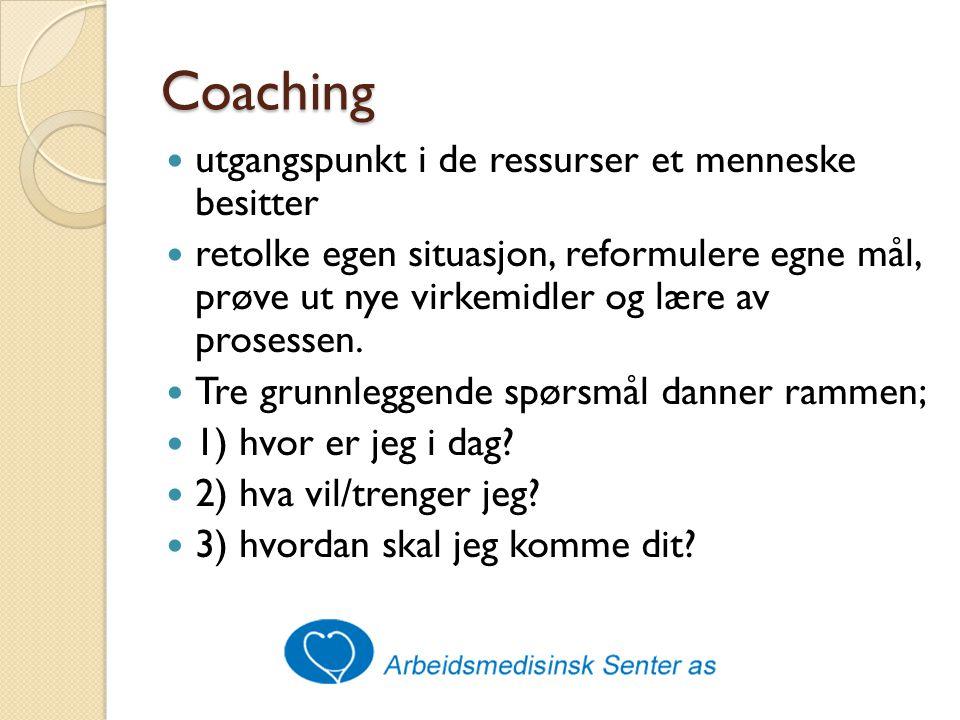 Coaching utgangspunkt i de ressurser et menneske besitter retolke egen situasjon, reformulere egne mål, prøve ut nye virkemidler og lære av prosessen.