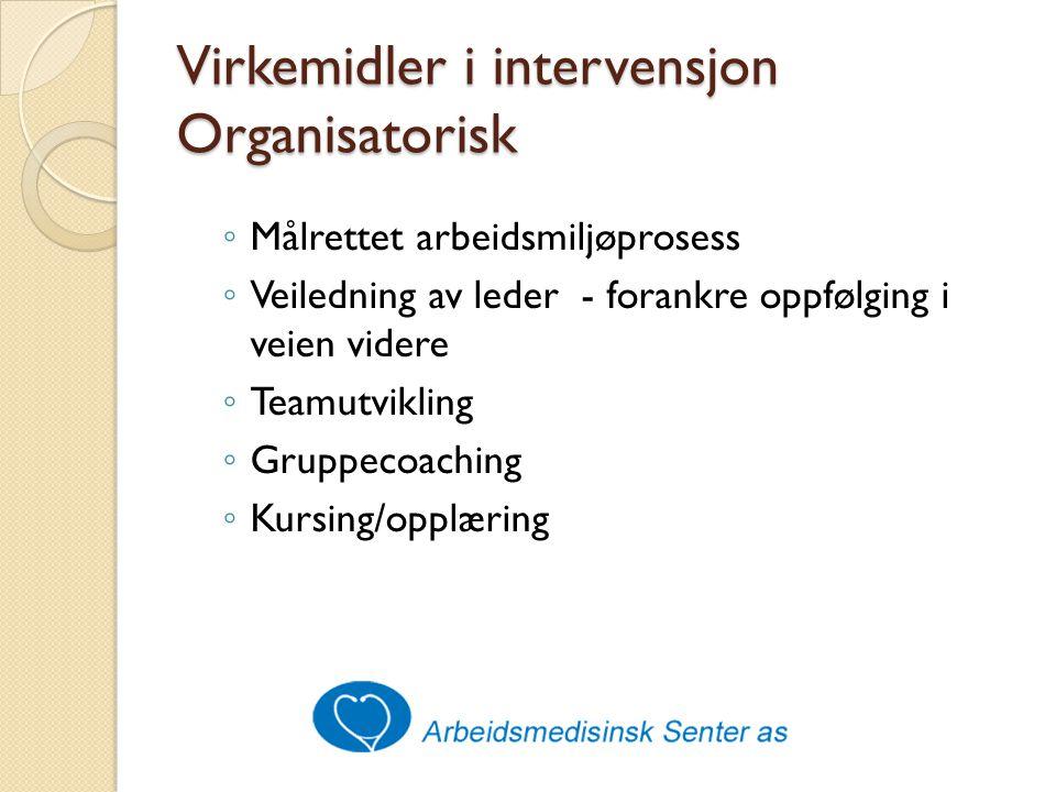Virkemidler i intervensjon Organisatorisk ◦ Målrettet arbeidsmiljøprosess ◦ Veiledning av leder - forankre oppfølging i veien videre ◦ Teamutvikling ◦ Gruppecoaching ◦ Kursing/opplæring