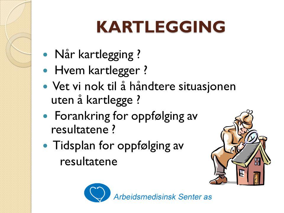 KARTLEGGING Kartlegging skaper legitimitet og oppmerksomhet Handling krever dialog, prioritering og fokus på det konkrete arbeid NB: Informasjon til alle involverte !