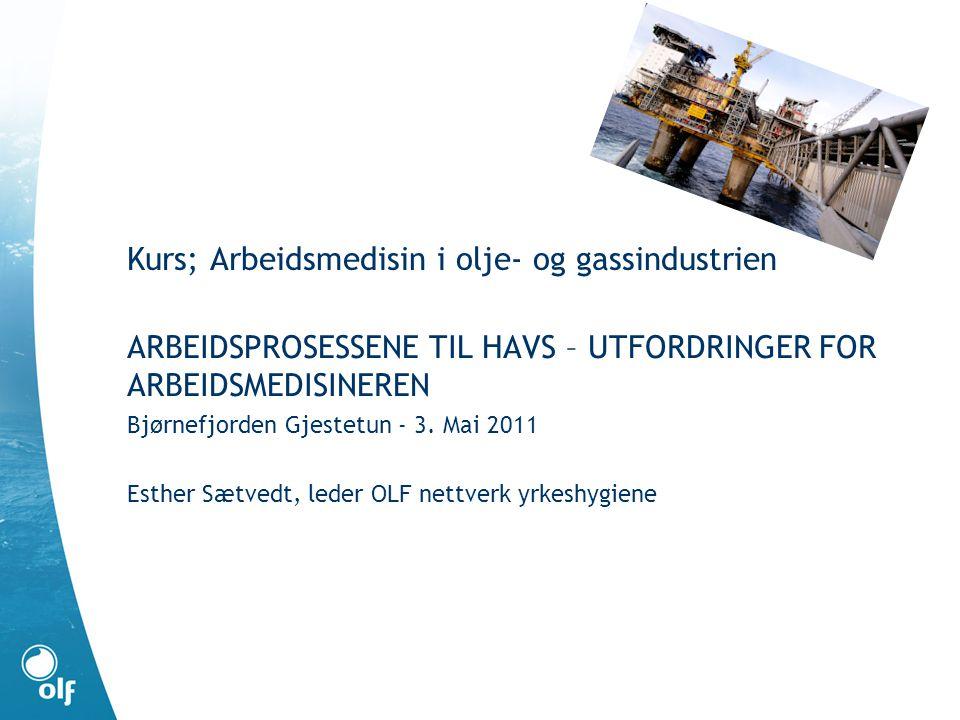 Kurs; Arbeidsmedisin i olje- og gassindustrien ARBEIDSPROSESSENE TIL HAVS – UTFORDRINGER FOR ARBEIDSMEDISINEREN Bjørnefjorden Gjestetun - 3.