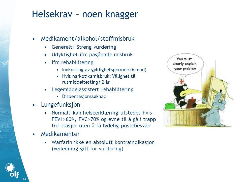 Helsekrav – noen knagger Medikament/alkohol/stoffmisbruk Generelt: Streng vurdering Udyktighet ifm pågående misbruk Ifm rehabilitering Innkorting av g