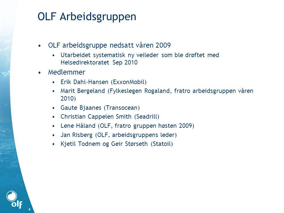 OLF Arbeidsgruppen OLF arbeidsgruppe nedsatt våren 2009 Utarbeidet systematisk ny veileder som ble drøftet med Helsedirektoratet Sep 2010 Medlemmer Er