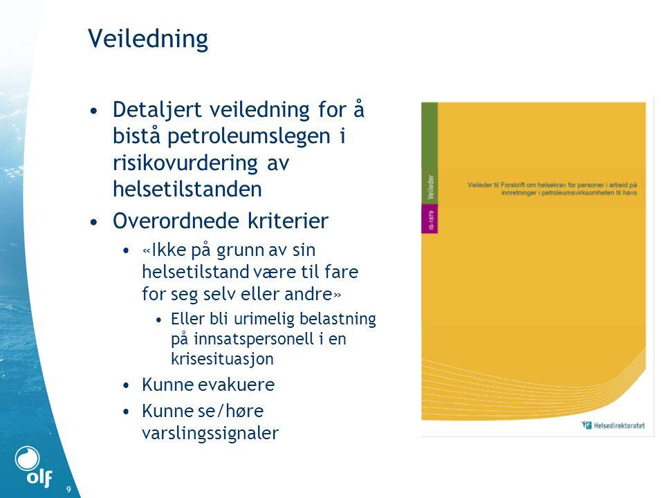 Veiledning Detaljert veiledning for å bistå petroleumslegen i risikovurdering av helsetilstanden Overordnede kriterier «Ikke på grunn av sin helsetils