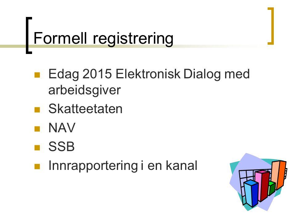 Formell registrering Edag 2015 Elektronisk Dialog med arbeidsgiver Skatteetaten NAV SSB Innrapportering i en kanal