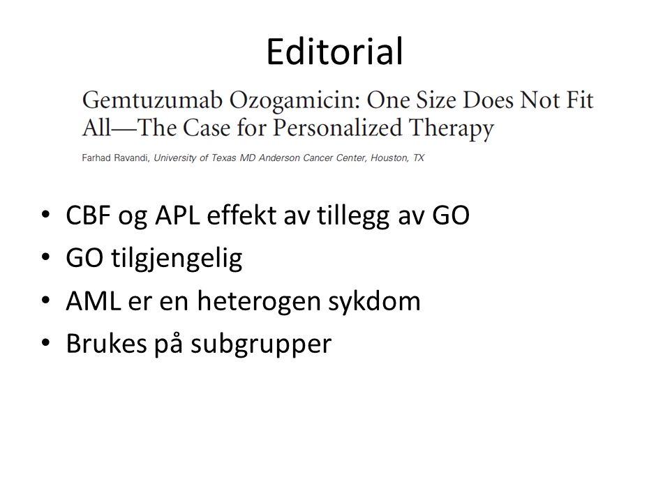 Editorial CBF og APL effekt av tillegg av GO GO tilgjengelig AML er en heterogen sykdom Brukes på subgrupper