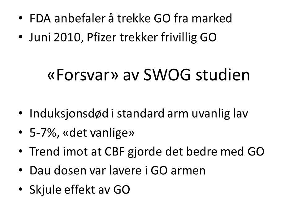 «Forsvar» av SWOG studien FDA anbefaler å trekke GO fra marked Juni 2010, Pfizer trekker frivillig GO Induksjonsdød i standard arm uvanlig lav 5-7%, «