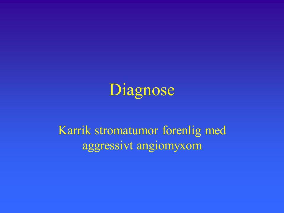 Diagnose Karrik stromatumor forenlig med aggressivt angiomyxom