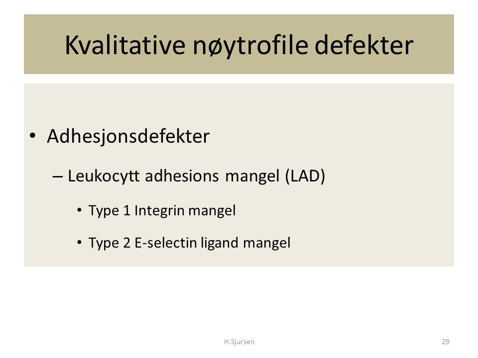 Kvalitative nøytrofile defekter H.Sjursen29 Adhesjonsdefekter – Leukocytt adhesions mangel (LAD) Type 1 Integrin mangel Type 2 E-selectin ligand mange