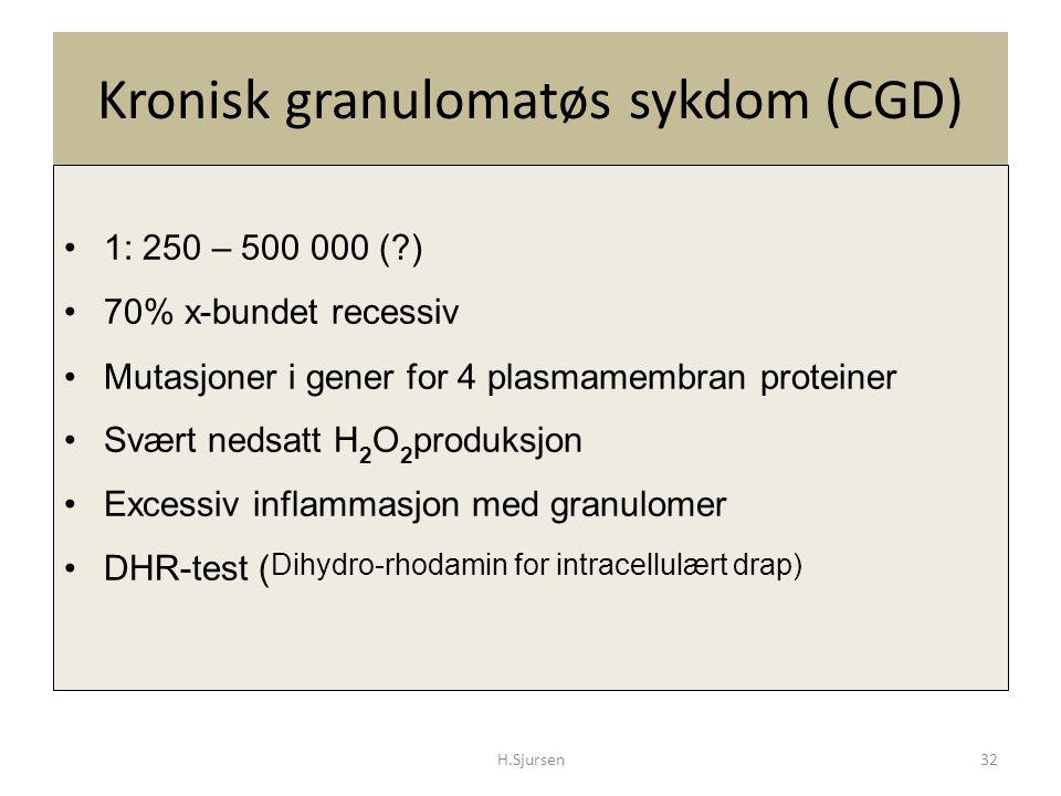 Kronisk granulomatøs sykdom (CGD) 1: 250 – 500 000 (?) 70% x-bundet recessiv Mutasjoner i gener for 4 plasmamembran proteiner Svært nedsatt H 2 O 2 pr