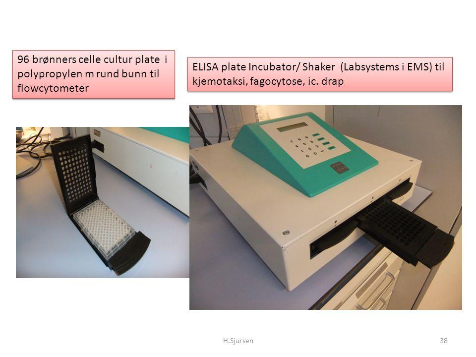 ELISA plate Incubator/ Shaker (Labsystems i EMS) til kjemotaksi, fagocytose, ic. drap H.Sjursen38 96 brønners celle cultur plate i polypropylen m rund