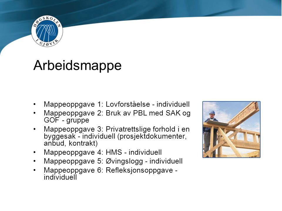 Arbeidsmappe Mappeoppgave 1: Lovforståelse - individuell Mappeoppgave 2: Bruk av PBL med SAK og GOF - gruppe Mappeoppgave 3: Privatrettslige forhold i
