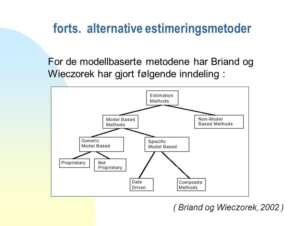 forts. alternative estimeringsmetoder For de modellbaserte metodene har Briand og Wieczorek har gjort følgende inndeling : ( Briand og Wieczorek, 2002
