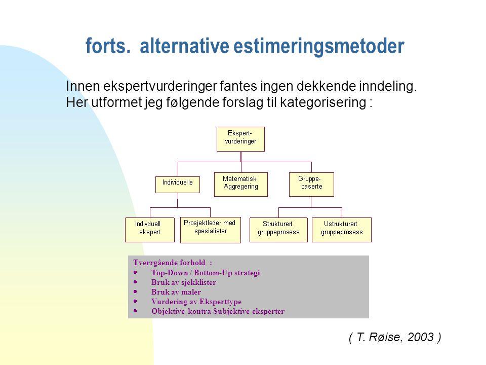 forts. alternative estimeringsmetoder Innen ekspertvurderinger fantes ingen dekkende inndeling.