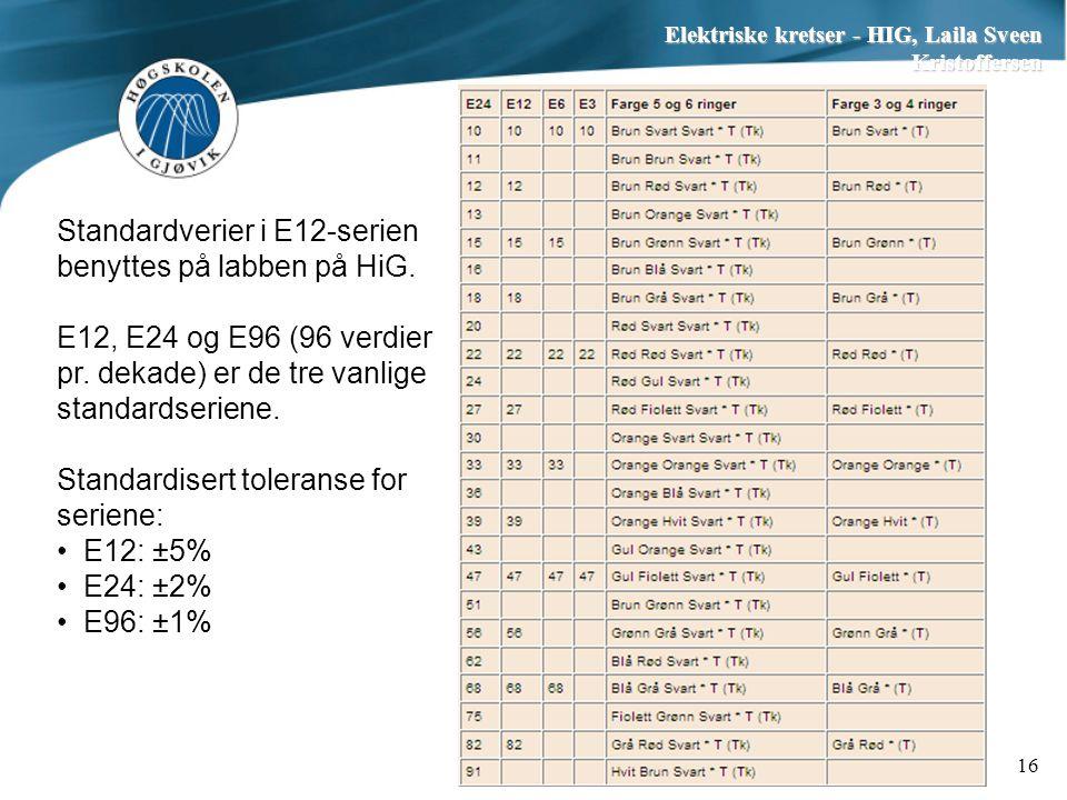 Elektriske kretser - HIG, Laila Sveen Kristoffersen 16 Standardverier i E12-serien benyttes på labben på HiG. E12, E24 og E96 (96 verdier pr. dekade)
