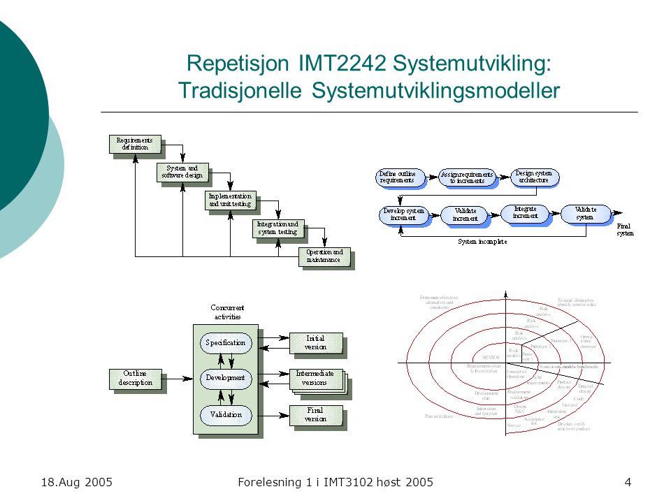18.Aug 2005Forelesning 1 i IMT3102 høst 200515 Methodology dimentions (Cockburn – Fig. 2)