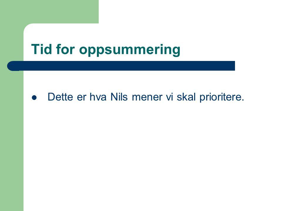Tid for oppsummering Dette er hva Nils mener vi skal prioritere.