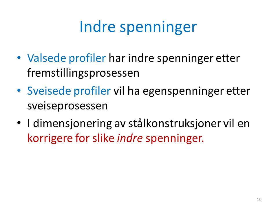 Indre spenninger Valsede profiler har indre spenninger etter fremstillingsprosessen Sveisede profiler vil ha egenspenninger etter sveiseprosessen I di