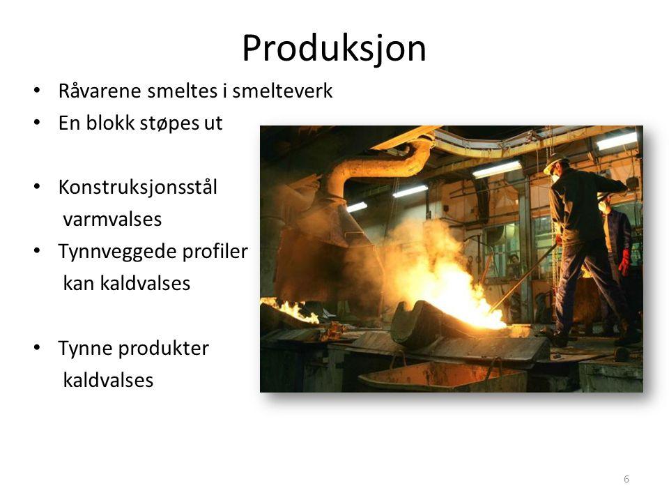 Produksjon Råvarene smeltes i smelteverk En blokk støpes ut Konstruksjonsstål varmvalses Tynnveggede profiler kan kaldvalses Tynne produkter kaldvalse