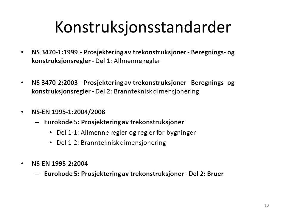 Konstruksjonsstandarder NS 3470-1:1999 - Prosjektering av trekonstruksjoner - Beregnings- og konstruksjonsregler - Del 1: Allmenne regler NS 3470-2:20