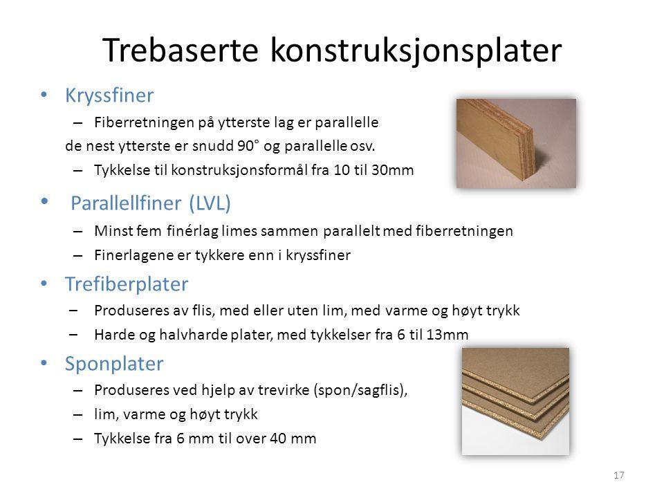 Trebaserte konstruksjonsplater Kryssfiner – Fiberretningen på ytterste lag er parallelle de nest ytterste er snudd 90° og parallelle osv. – Tykkelse t