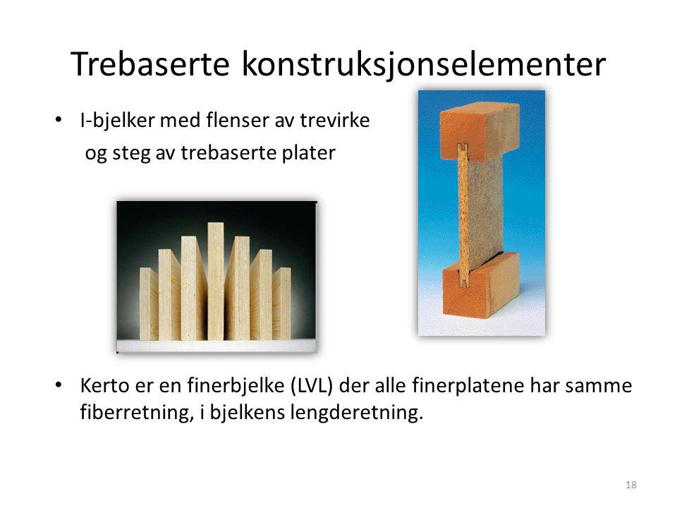 Trebaserte konstruksjonselementer I-bjelker med flenser av trevirke og steg av trebaserte plater Kerto er en finerbjelke (LVL) der alle finerplatene h