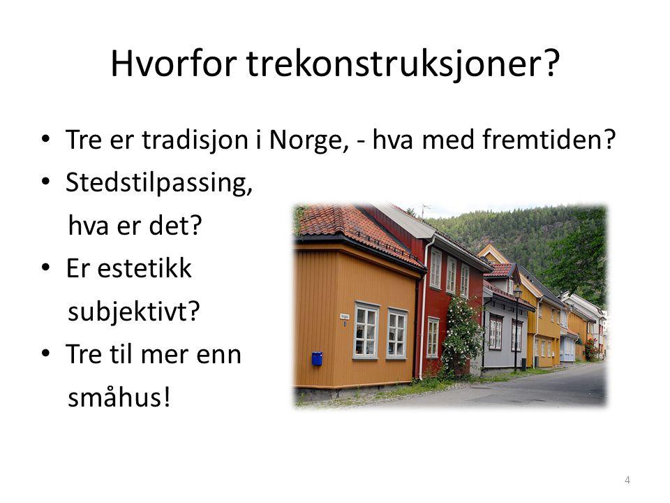 Hvorfor trekonstruksjoner? Tre er tradisjon i Norge, - hva med fremtiden? Stedstilpassing, hva er det? Er estetikk subjektivt? Tre til mer enn småhus!