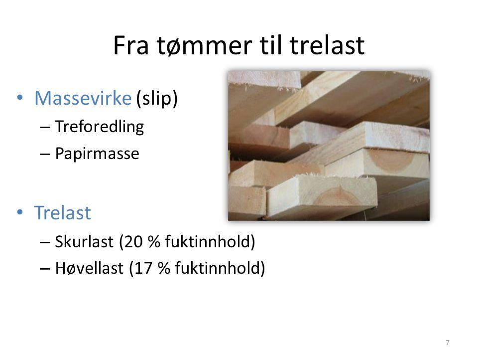 Fra tømmer til trelast Massevirke (slip) – Treforedling – Papirmasse Trelast – Skurlast (20 % fuktinnhold) – Høvellast (17 % fuktinnhold) 7