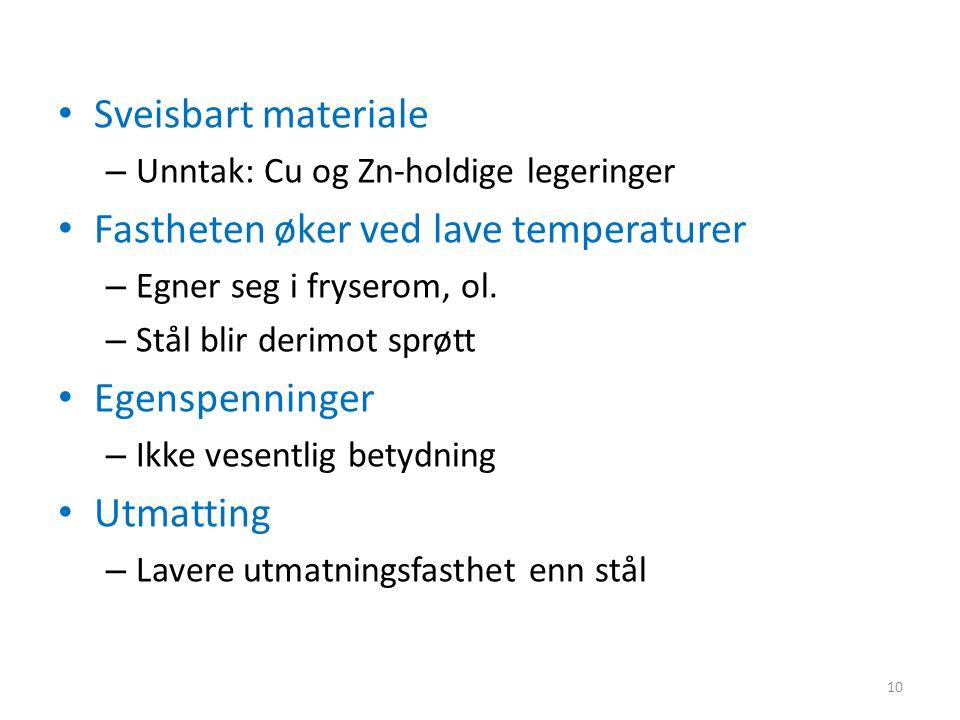 Sveisbart materiale – Unntak: Cu og Zn-holdige legeringer Fastheten øker ved lave temperaturer – Egner seg i fryserom, ol.