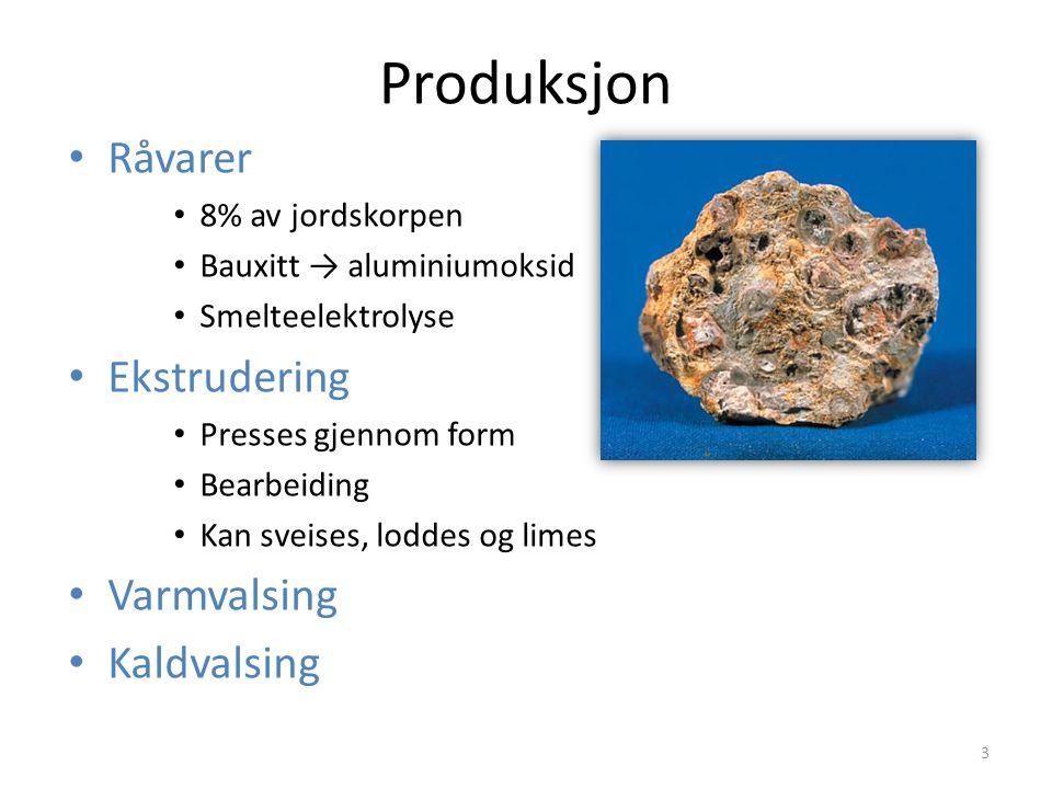 Produksjon Råvarer 8% av jordskorpen Bauxitt → aluminiumoksid Smelteelektrolyse Ekstrudering Presses gjennom form Bearbeiding Kan sveises, loddes og limes Varmvalsing Kaldvalsing 3