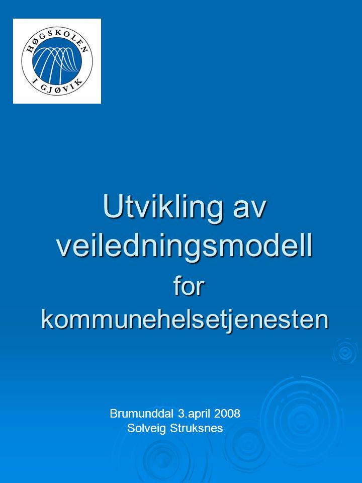 Utvikling av veiledningsmodell for kommunehelsetjenesten Brumunddal 3.april 2008 Solveig Struksnes