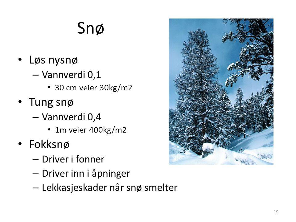 Snø Løs nysnø – Vannverdi 0,1 30 cm veier 30kg/m2 Tung snø – Vannverdi 0,4 1m veier 400kg/m2 Fokksnø – Driver i fonner – Driver inn i åpninger – Lekkasjeskader når snø smelter 19