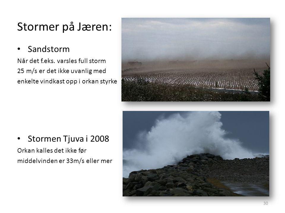 Stormer på Jæren: 30 Sandstorm Når det f.eks.