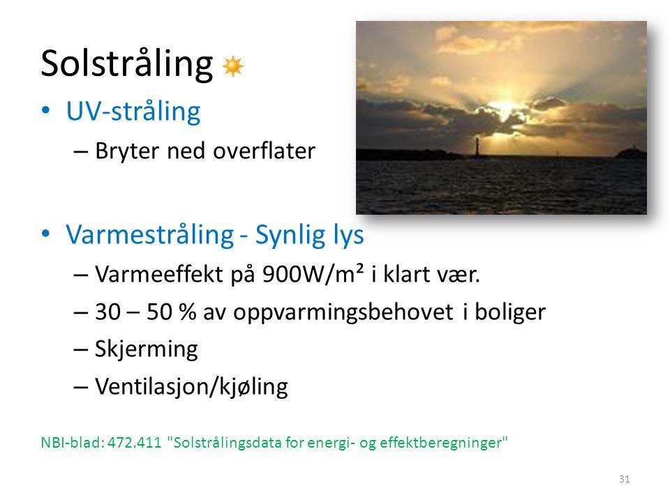 Solstråling UV-stråling – Bryter ned overflater Varmestråling - Synlig lys – Varmeeffekt på 900W/m² i klart vær.